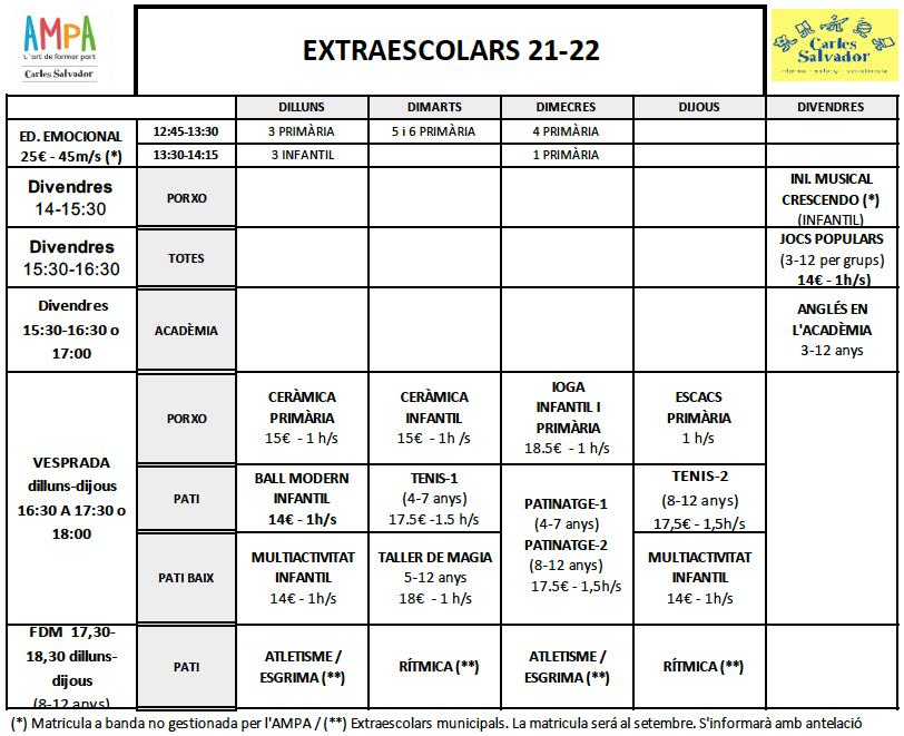 Horari-extraescolars-2021-22