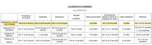 Calendari admissio